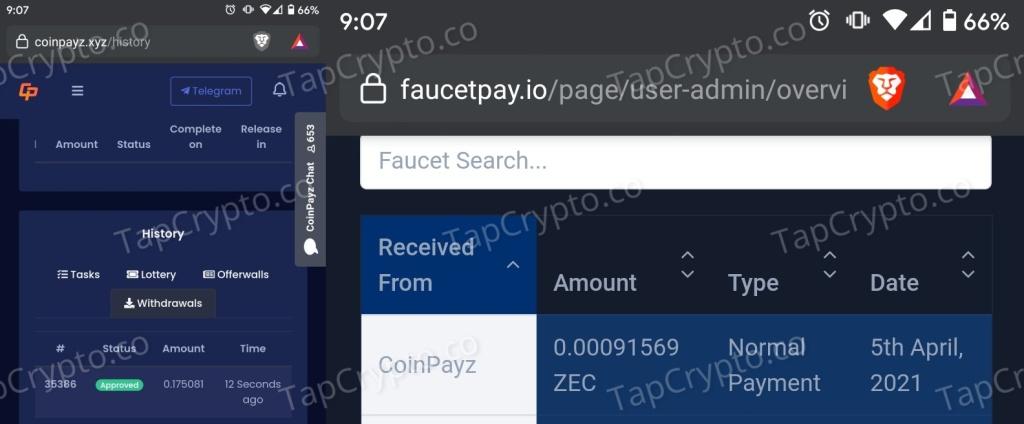 CoinPayz Zcash Payment Proof 4-5-2021