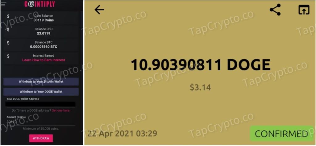 Cointiply Dogecoin Payment Proof 4-22-2021