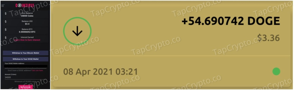 Cointiply Dogecoin Payment Proof 4-8-2021