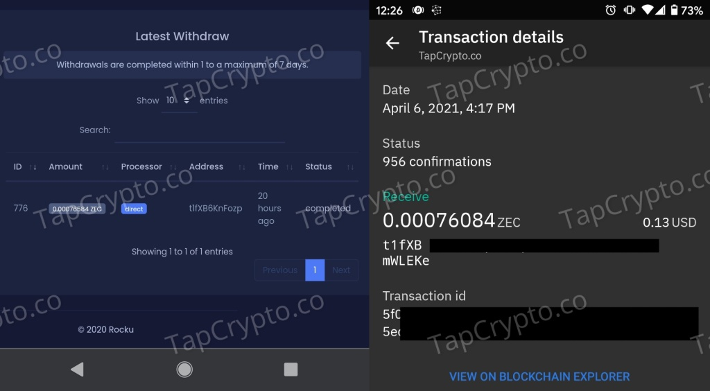 Rocku.Space Zcash Payment Proof 4-6-2021