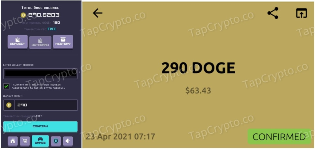 RollerCoin Dogecoin Payment Proof 4-23-2021