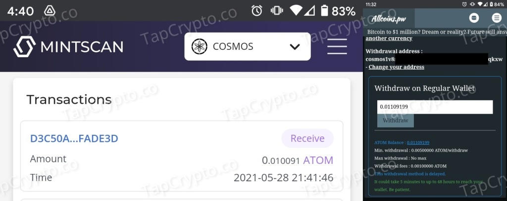 AllCoins.pw Atom (Cosmos) Payment Proof 5-28-2021