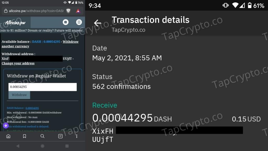 AllCoins.pw Faucet Dash Payment Proof 5-2-2021