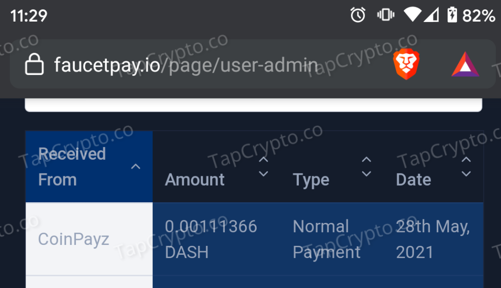 CoinPayz Dash Payment Proof 5-28-2021