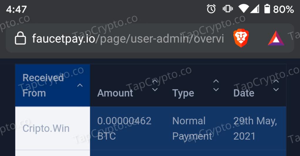 CriptoWin Bitcoin Payment Proof 5-29-2021