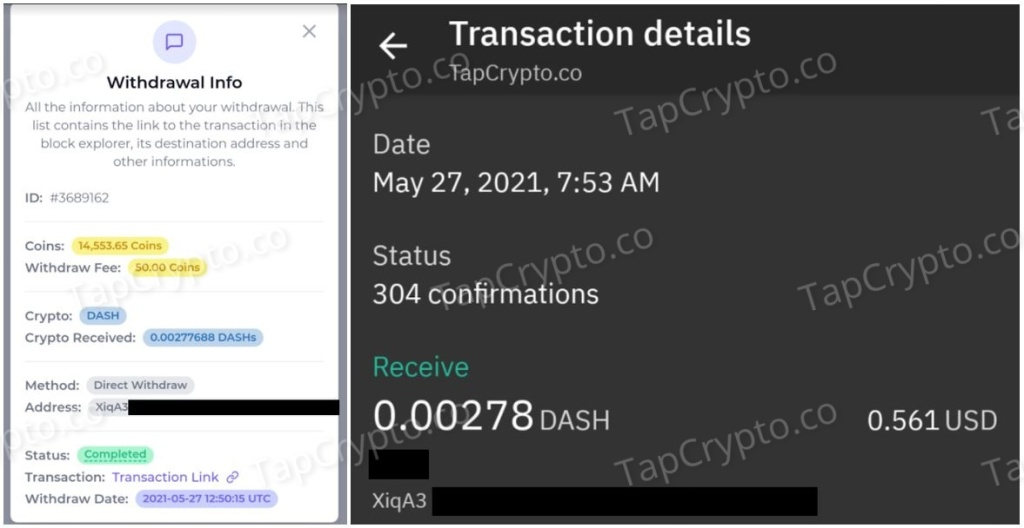 FaucetCrypto DASH Payment Proof 5-27-2021