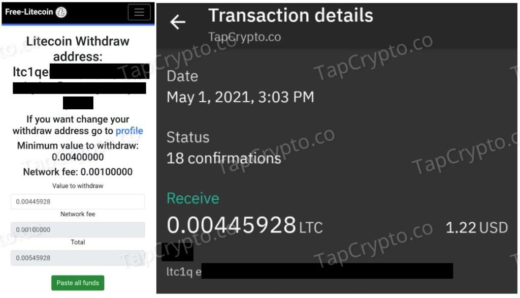 Free-Litecoin.com Faucet Litecoin Payment Proof 5-1-2021