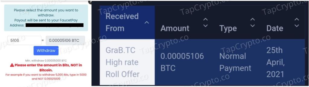 GraBTC Faucet Bitcoin Payment Proof 4-25-2021