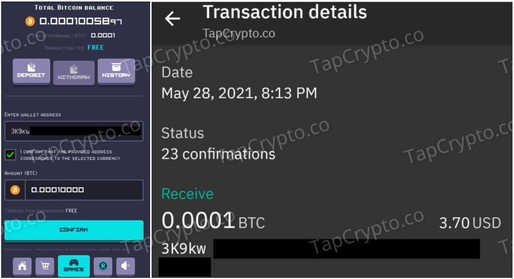 RollerCoin Bitcoin Payment Proof 5-28-2021