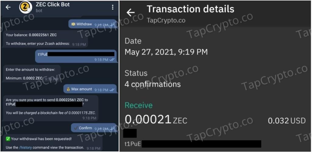 Zcash Telegram Clickbot Faucet Payment Proof 5-27-2021