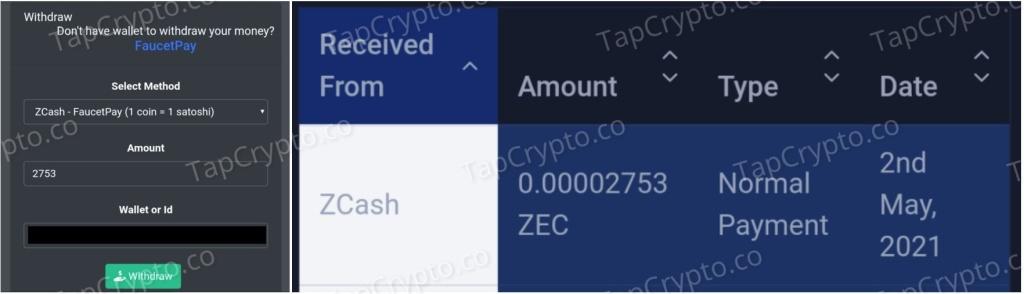 Z-Cash.xyz Faucet ZEC Payment Proof 5-2-2021