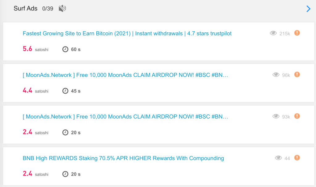 CoinPayU PTC Ad Surfing page showing claim amounts and claim timer