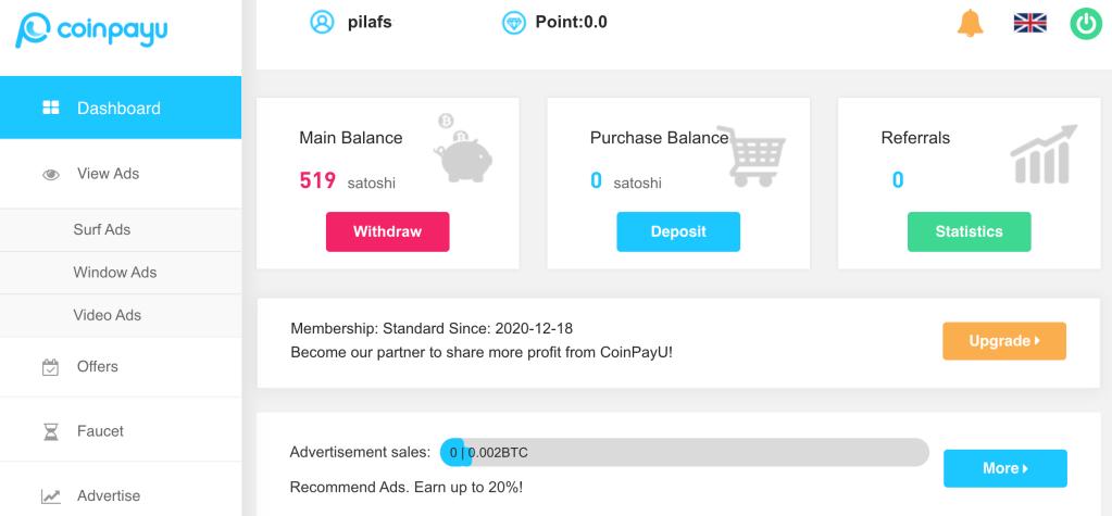 CoinPayU dashboard page showing ways to earn Bitcoin and BTC balance