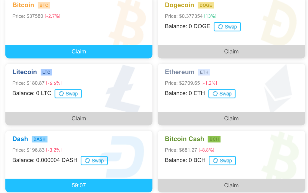 CoinPayU hourly faucet claim page for Bitcoin, Dogecoin, Litecoin, Ethereum, Dash, Bitcoin Cash, and Tron