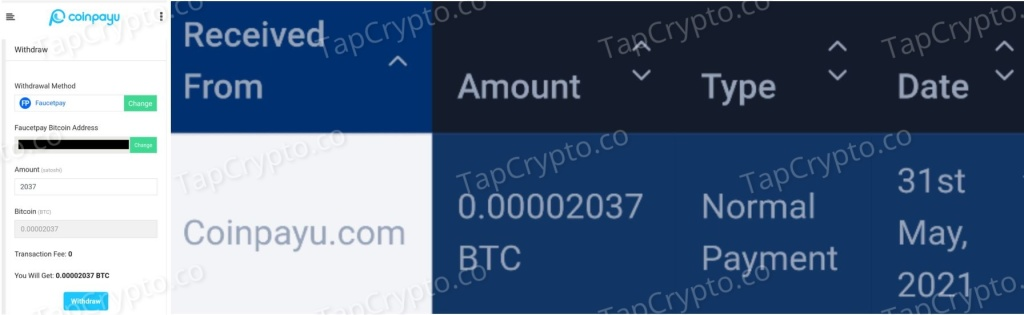 CoinPayU Bitcoin Payment Proof 5-31-2021 - Over 2000 saotshis earned
