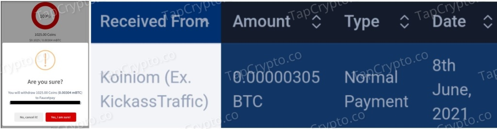 Koiniom Bitcoin Payment Proof 6-8-2021
