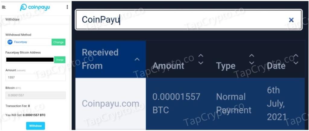 CoinPayU Bitcoin Payment Proof 7-6-2021