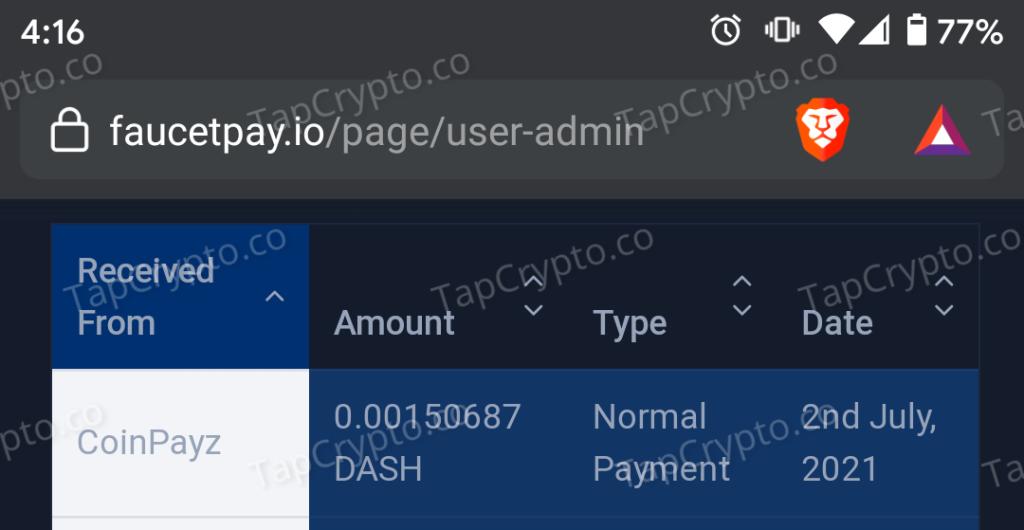 CoinPayz.xyz DASH Payment Proof 7-2-2021