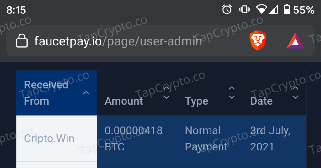 Cripto.Win Bitcoin Payment Proof 7-3-2021