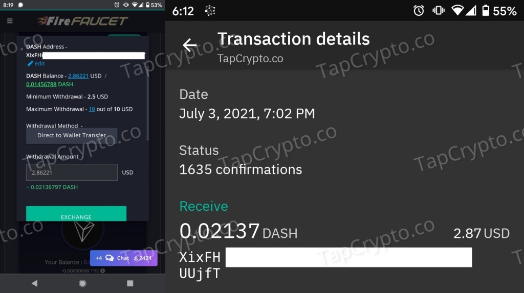 FireFaucet.win DASH Payment Proof 7-3-2021