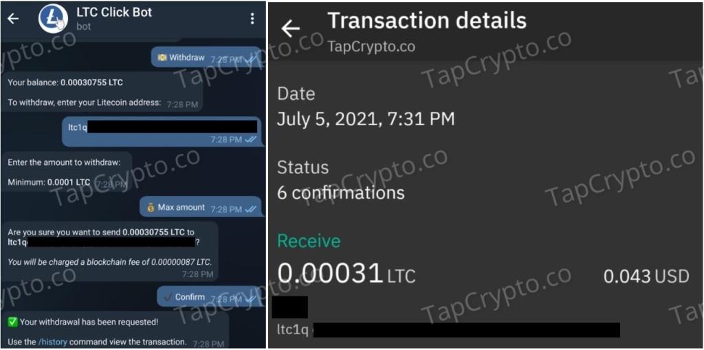Telegram Litecoin Clickbot Payment Proof 7-5-2021