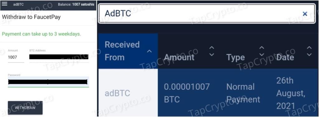AdBTC Bitcoin Payment Proof 8-26-2021