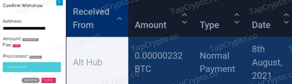 AltHub Faucet Bitcoin Payment Proof 8-8-2021
