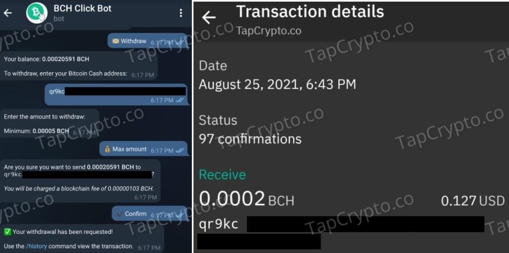 Bitcoin Cash Telegram Clickbot Faucet Payment Proof 8-25-2021