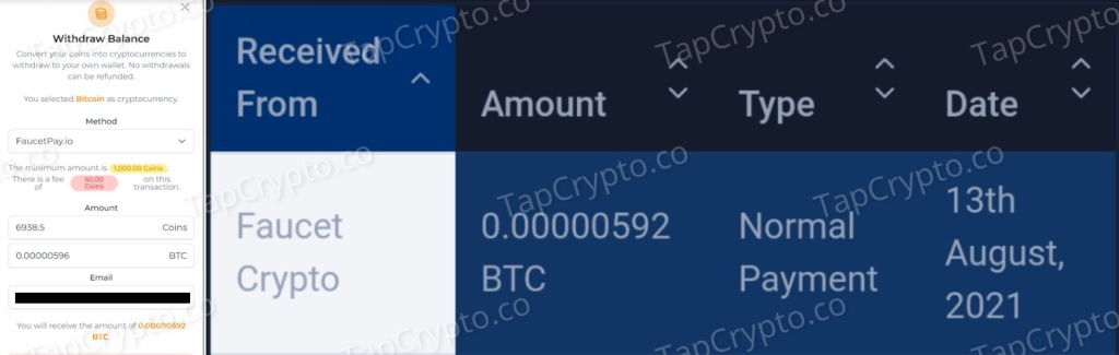 FaucetCrypto Bitcoin Payment Proof 8-13-2021