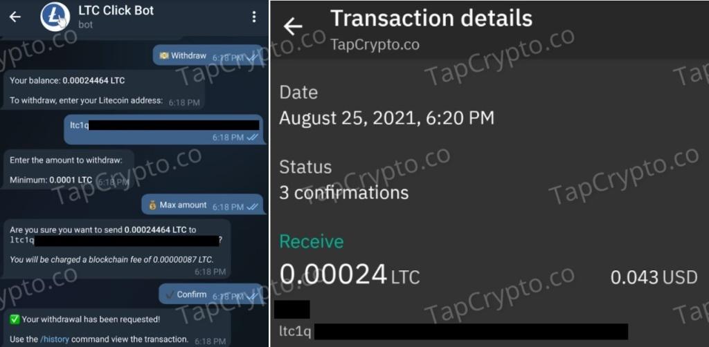 Litecoin Telegram Clickbot Faucet Payment Proof 8-25-2021