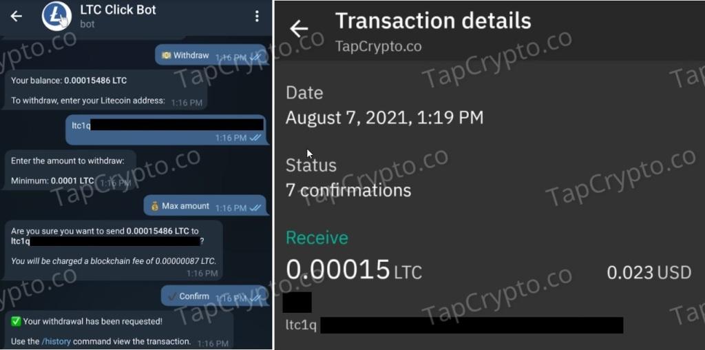Litecoin Telegram click bot faucet payment proof 8-7-2021