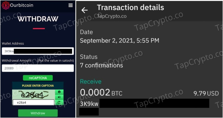 OurBitco.in Crypto Faucet Payment Proof 9-2-2021